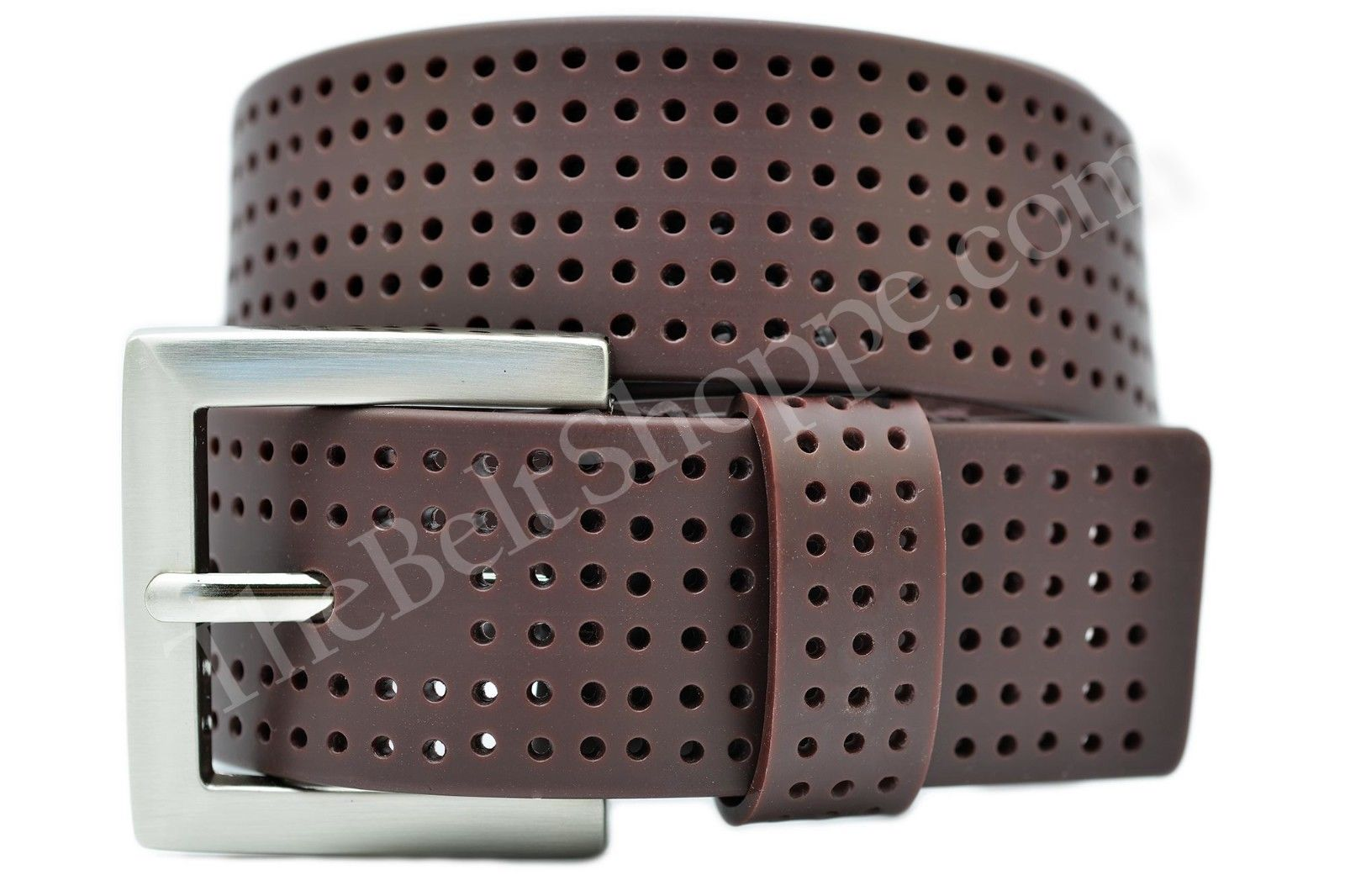 pga tour s brown perforated silicone golf belt size