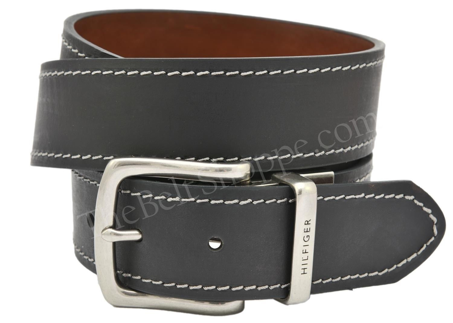 hilfiger saddle leather reversible jean belt black